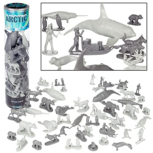 Arctic Animals Action Figure 48 pc Playset - Winter Habitat Adventure Toy Figures Featuring Polar Bears  Foxes  Seals  Penguins& More - Great for Party Favors  Pretend Play  Role Playing Games