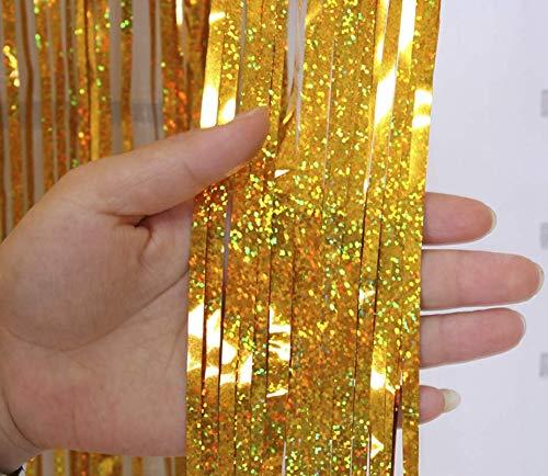 2 Pack 3ft*9ft Laser Foil Fringe Shimmer Gordijn - 5 Kleuren 2 Pack-Laser Gold Laser Gold