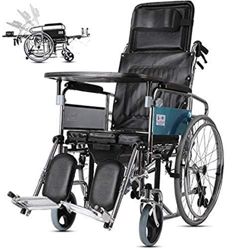 JYHS Silla de ruedas reclinable, respaldo alto, asiento de inodoro plegable para personas mayores, adecuado para personas mayores, discapacitados cómodo