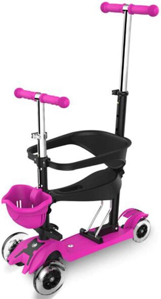 Pixier 4 In1 Kids Toddler Scooter De 4 Ruedas Con Asiento, Kick Scooter De Altura Ajustable Y Led Light Up Wheels, Para Niños, Niñas, Niños De 2 A 12 Años. / pink