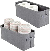 mDesign Soft Cotton Fabric Bathroom Storage with Attached Handles - Organizer for Towels, Toilet Paper Rolls - for Back of Toilet, Cabinets, and Vanities, 2 Pack - Charcoal Gray