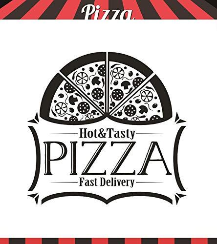 ASFGA Einzigartige Pizza Vinyl Wandtattoo Logo Fensteraufkleber Burger Restaurant Fast Food Restaurant Küche Dekoration Wandkunst Poster Pizza Food Wandbild 83x80cm