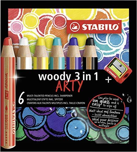 Crayon de couleur - STABILO woody 3in1 - Étui carton x6 crayons + 1 taille-crayon-gamme ARTY