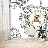Pseaexz Mural De Papel Tapiz De Póster Para Niños 3D Cabeza De Gato Figura De Palo Grupo De Gatos Bl...