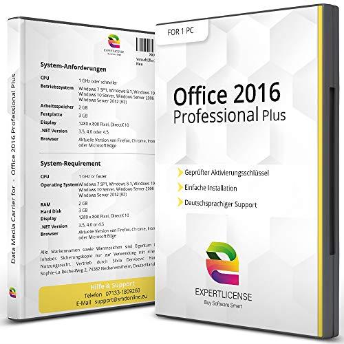 Office 2016 Professional Plus + ISO DVD 32/64bit | ExpertLicense | Aktivierungsschlüssel inkl. Unterlagen und Installationsanleitung per E-Mail | PREMIUM Kunden-Support