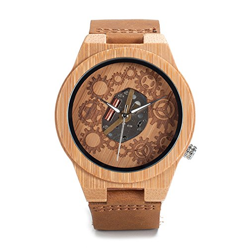 Kim Johanson Herren Bambus-Holz Armbanduhr *Gear* in Braun mit Echtem Lederarmband Handgefertigt Quarz Analog Uhr inkl. Geschenkbox