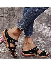 Slippers Dames Muilezels Sleehak Schoenen, Casual Slingback Zomerschoenen, Comfortabele Zomer Platform Slippers Orthopedische Sandalen Elegante Bloem Sandalen