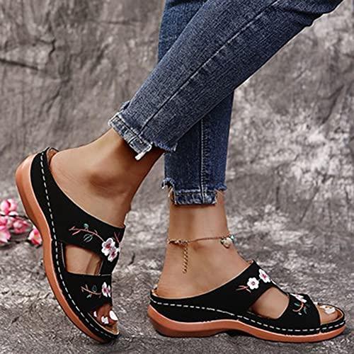 Slippers Dames Muilezels Sleehak Schoenen, Casual Slingback Zomerschoenen, Comfortabele Zomer Platform Slippers Orthopedische Sandalen Elegante Bloem Sandalen (Color : Black, Size : 39EU)