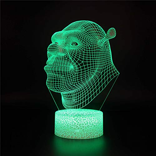 3D Night Light for Boys 3D Illusion Lamp Shrek 13 Year Old Gifts for Girls 16 Colors Dimmable USB Powered Touch Control with Crack Base Remote for Boys Girls Kids Gifts