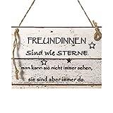 Wand Deko Holzschild mit Spruch im Shabby Chic Vintage Stil (20x29x0,5cm) FREUNDINNEN - die...
