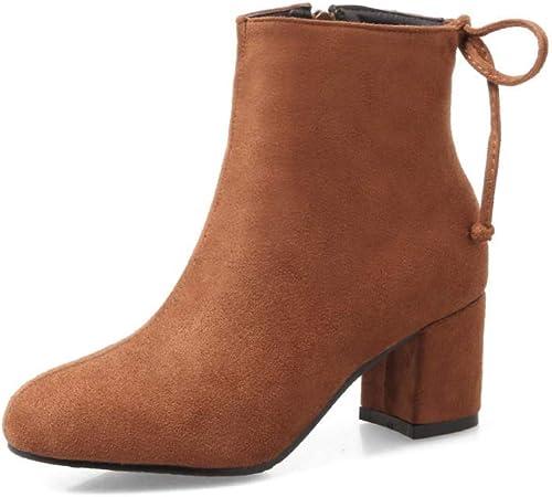 ZHRUI botas para mujer de la Gama Alta Occidental Grueso con botas de tacón Alto de 6 cm botas de Chelsea zapatos de Gran tamaño para mujer 36-43 (Color   marrón, tamaño   39)