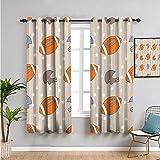 Pcglvie Fútbol cortina al aire libre, cortinas de 99 cm de longitud de estrellas y rayas con símbolos deportivos clásicos USA retro azulejo uso diario naranja malva azul pizarra W54 x L39 pulgadas