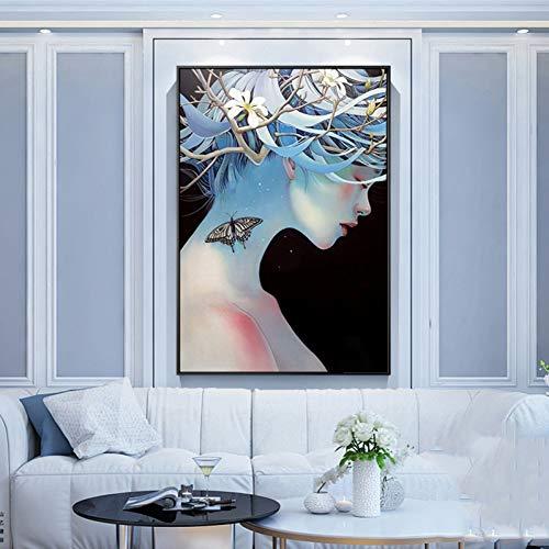 AJKCBAQ vlinder schilderij roze blauw HD afbeeldingen gedrukt op canvas muurkunst afbeelding voor de woonkamer