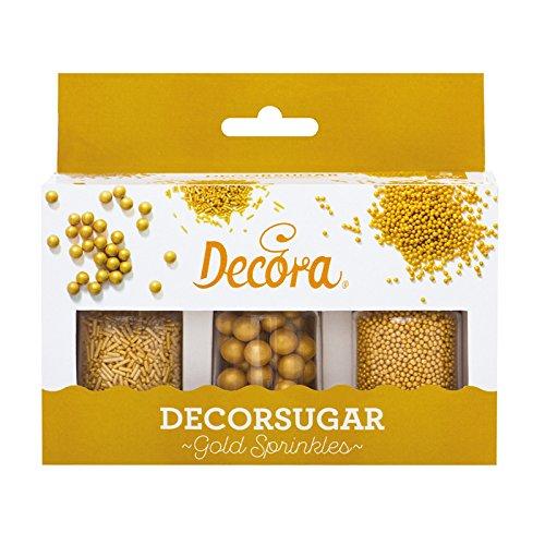 Decora 2082102 Set 85 G Perle E Bastoncini Dorati In Zucchero