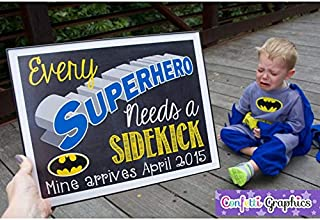 AprilLove Every Superhero Needs a Sidekick Mine Arrives Custom Date Batman Chalkboard Pregnancy Announcement Baby Reveal Chalk Poster Sign Photo Prop