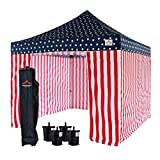 UNIQUECANOPY 10'x10' Ez Pop Up Canopy Tent Commercial Instant Shelter, with 4 Removable Zippered Side Walls and Heavy Duty Roller Bag, 4 Sand Bags Black