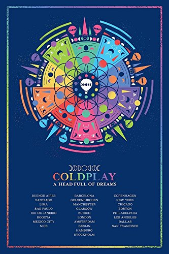Super Collection Coldplay British Rock Band A Head Full of Dreams Guy Berryman Jonny Buckland Will Champion Chris Martin 30,5 x 45,7 cm Posterdruck gerollte Wanddekoration