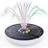 Fuente Solar con Luces LED, AISITIN 6.5W Bomba de Agua Solar 7 Colores, Dos Modos Batería Incorporada, Solar Fuente con 7 Estilos