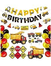 مجموعة زينة عيد ميلاد بفكرة شاحنات بناء مع 2 بالون من الورق المعدني للاطفال