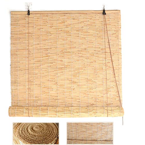 Zlovne Natural Reed Curtain,Curtain Bamboo Blind,Roller Blinds Home Sunshade,Balcony Partition Curtain Privacy,Hand-Woven,Lifting Shutters,for Outdoor/Patio/Door,Customizable (70x100cm/28x39in)