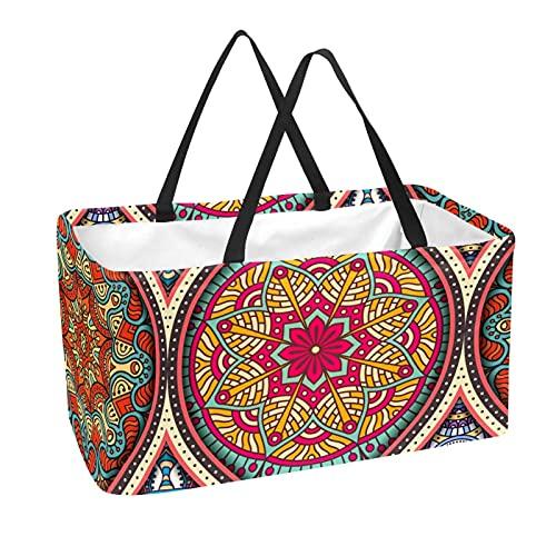 Bolsa de comestibles reutilizable grande, resistente bolsa de compras con parte inferior reforzada y asa (estampado de mandala bohemia de estilo indio)