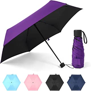 Roloiki 6 Ribs Uv Protection Mini Travel Umbrella Lightweight Folding Parasol Umbrella for Sun and Rain