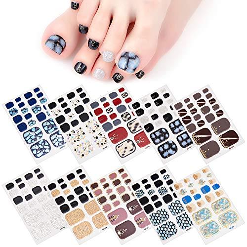 MWOOT Selbstklebend Nagelfolie Sticker (10Stk), DIY Fußnagel Nagelkunst Nagelsticker, Nageldesign Nagelaufkleber für Schnell&Einfach Maniküre, Füße Nagel Klebefolien - Shiny Styles Nail Wraps