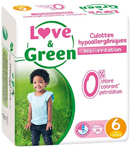 Love & Green - Pack de 16 Culottes Hypoallergéniques - Taille 6 (+ de 16 kg)