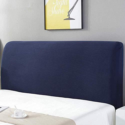 ZXDFG - Funda para cabecero de cama, almohada de lectura, gruesa, extensible, funda para cabecero, color liso antipolvo, poliéster, Darkblue, King(70.5