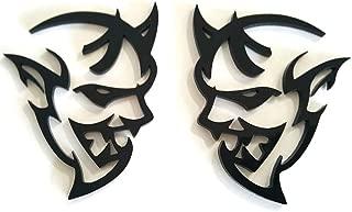 UpAuto 2X Metal Demon Challenger Emblem 3D Metal Sticker Decals For Decoration (Black)