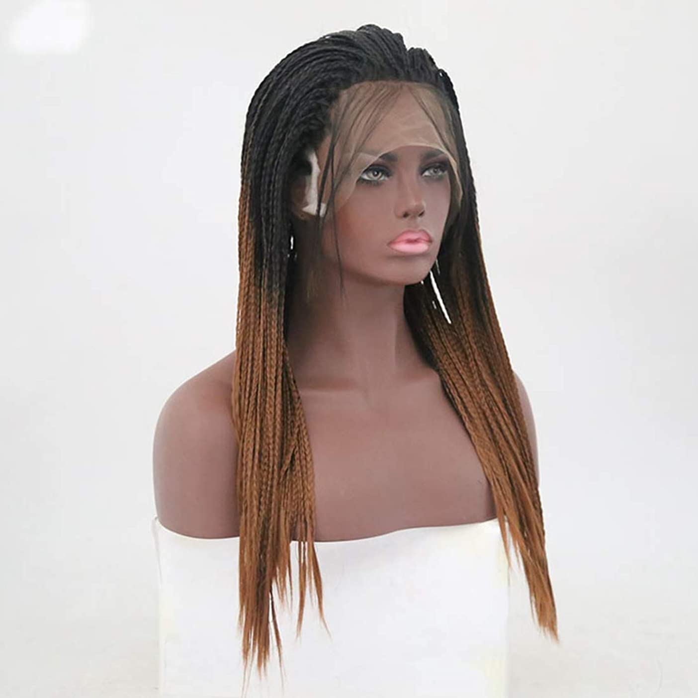 公爵指紋壊すKoloeplf アフリカの小さなボリューム編まれた髪汚れたかつらブラウンロングストレートヘアウィッグフロントレース化学繊維ヘアウィッグ (サイズ : 18 inches)