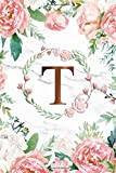 T: Trendy Rose Gold Monogram Initial Letter T Dot Grid Bullet Notebook for Women, Girls & School - Pretty Floral Personalized Blank Journal & Diary with Dot Gridded Pages.