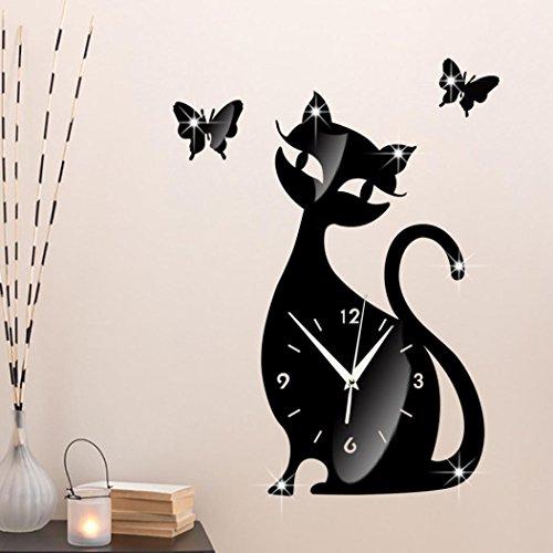 kingko Chat mignon Papillon Miroir Noir Horloge murale Modern Design Home Decor Montre Autocollant Mural (A)