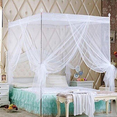 Bluelans® - Moustiquaire à 4 angles pour lit jumeau, double, Queen-size et King-size, blanc, Queen Size
