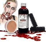 BIOSCEN Halloween Sangue Finto Liquido 100 ml e Cera per Trucco 50 g Set, Sangue Artificiale Lavabile Abbina con Cera Modellabile e spugnette per Il Trucco per Horror Realistico Vampiro Zombie Makeup