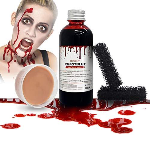 BIOSCEN Halloween Kunstblut 100 ml und 50 g Modellierwachs, Zombie Vampir Wundschorf Schminke, Spezialeffekt Fake Blood für Realistische Wunden & Narben, Künstliches Blut Filmblut mit Make-up Schwamm