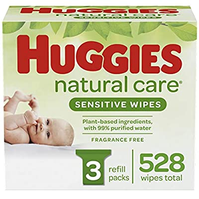 HUGGIES Natural Care Baby Wipes, 3 Packs, 528 Total Wipes