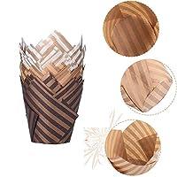 キッチン 100個 マフィン カップケーキトレイ ケーキデコレーション 紙コップ マフィンケース カップケーキライナー ベーキングカップ ケーキラッパー(coffee)