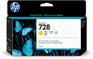 HP 728 Gelb 130 ml Original Druckerpatrone (F9J65A) mit originaler HP Tinte, für DesignJet T730 und T830 Großformatdrucker sowie den HP 729 DesignJet Druckkopf