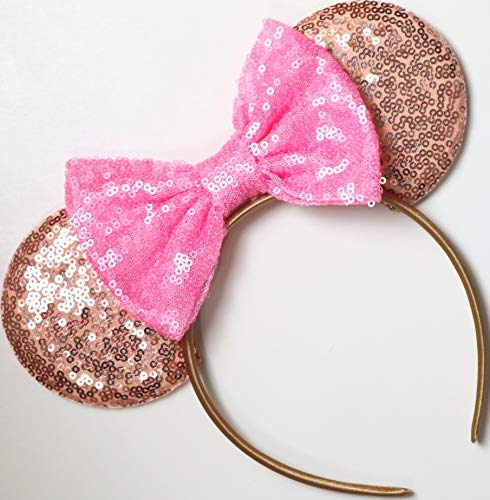 CLGIFT Rose Gold Mickey Ears, Pink Minnie Mouse Ears, Sparkly Minnie Ears, Mouse Ears, One Size fits All, Handmade