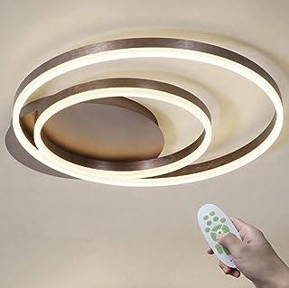 36W LED Moderno Regulable Lámpara de Techo con Mando a Distancia Dormitorio Comedor Ligero Marrón 2 Anillo Diseño Luz de Techo IP20 Metal Acrílico Cocina Interior Iluminación 3000K-6500K