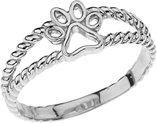 Elegant Sterling Silver Openwork Dog Paw Print Double Rope Ring