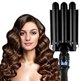 3 Barrel Curling Iron Hair Waver Curling Iron Fast Heating Ceramic Hair Waver Curler 25mm Hair Curling Wand (Black)