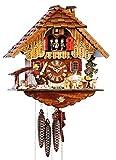 SELVA Reloj de cuco de Iglesia de la Selva Negra Artesanía – Fabricado en Alemania – Caja de madera maciza decorada con detalles – Cadena de 1 día – Una obra maestra (altura: 36 cm) – C341950