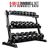 Rep 5-50 lb Rubber Hex Dumbbell Set with Rack