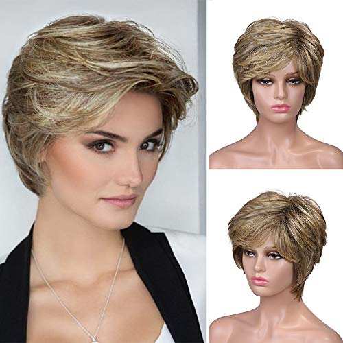 Lady Miranda Brown Mixed Light Brown Color Short Layer Nature Curly with Bangs Synthetic Wig Heat Resistant Weave Full Wigs for Women (27/30)