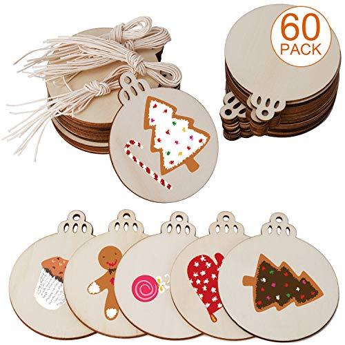 SAVITA 60 sztuk plasterków naturalnego drewna, okrągłe drewniane tarcze drewniane bombki do malowania ozdoby bożonarodzeniowe do samodzielnego wykonania rękodzieło ozdoby choinkowe świąteczne wiszące dekoracje