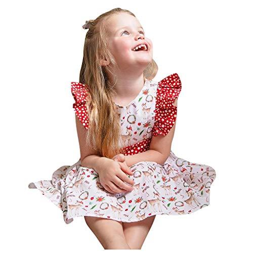 Storerine Noël Fille 2 Pièces Ensemble Bonhomme De Neige Imprimé Chic Robe De Noel sans Manche Jupe De Princesse Shorts Bébé Fille Deguisement Pull Noel Tenue Costume Enfant 0-2 Ans