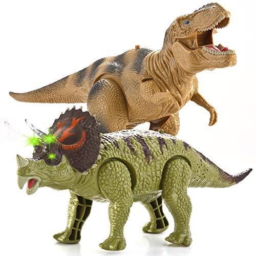 JOYIN 2 in 1 Realistisch Walking Dinosaurier, Elektronik T-Rex Dino und Triceratops Spielzeug mit Gehen, Brüllen