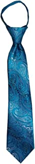 Children's Tie for ages 4-9 years old Malibu Turquoise and Silver Paisley Boys Zipper Tie